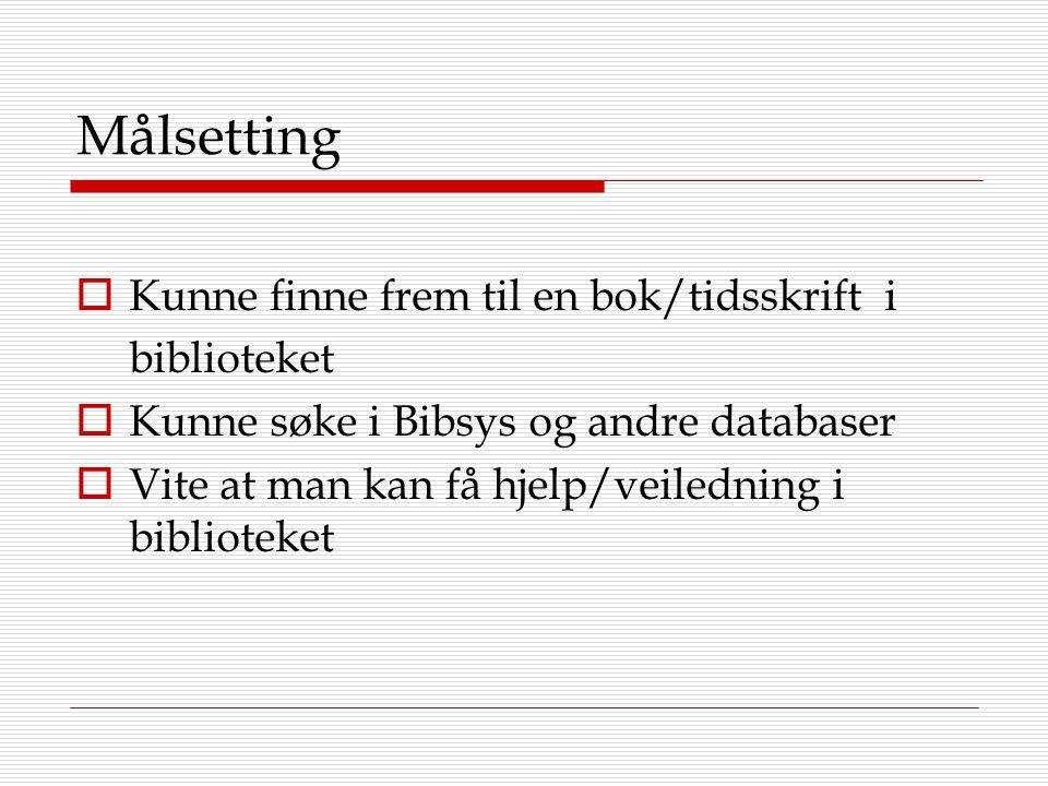 Målsetting  Kunne finne frem til en bok/tidsskrift i biblioteket  Kunne søke i Bibsys og andre databaser  Vite at man kan få hjelp/veiledning i bib