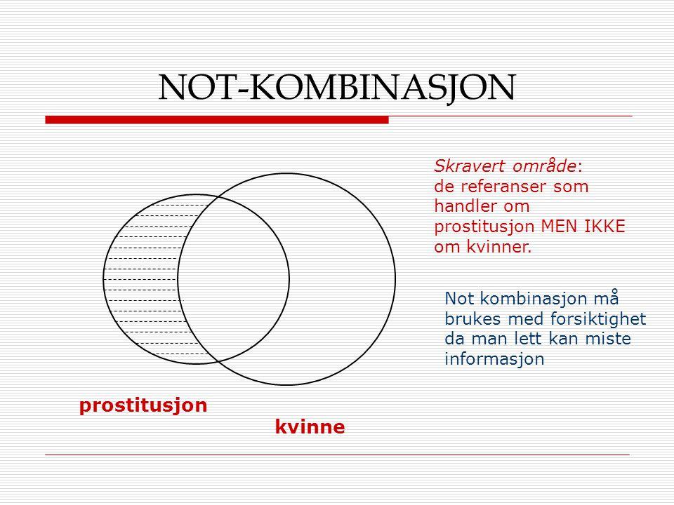 NOT-KOMBINASJON prostitusjon kvinne Skravert område: de referanser som handler om prostitusjon MEN IKKE om kvinner. Not kombinasjon må brukes med fors