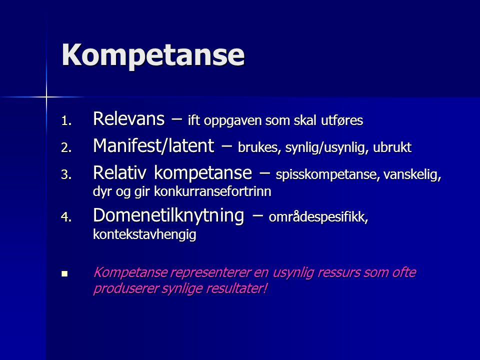 Kompetanse 1. Relevans – ift oppgaven som skal utføres 2. Manifest/latent – brukes, synlig/usynlig, ubrukt 3. Relativ kompetanse – spisskompetanse, va