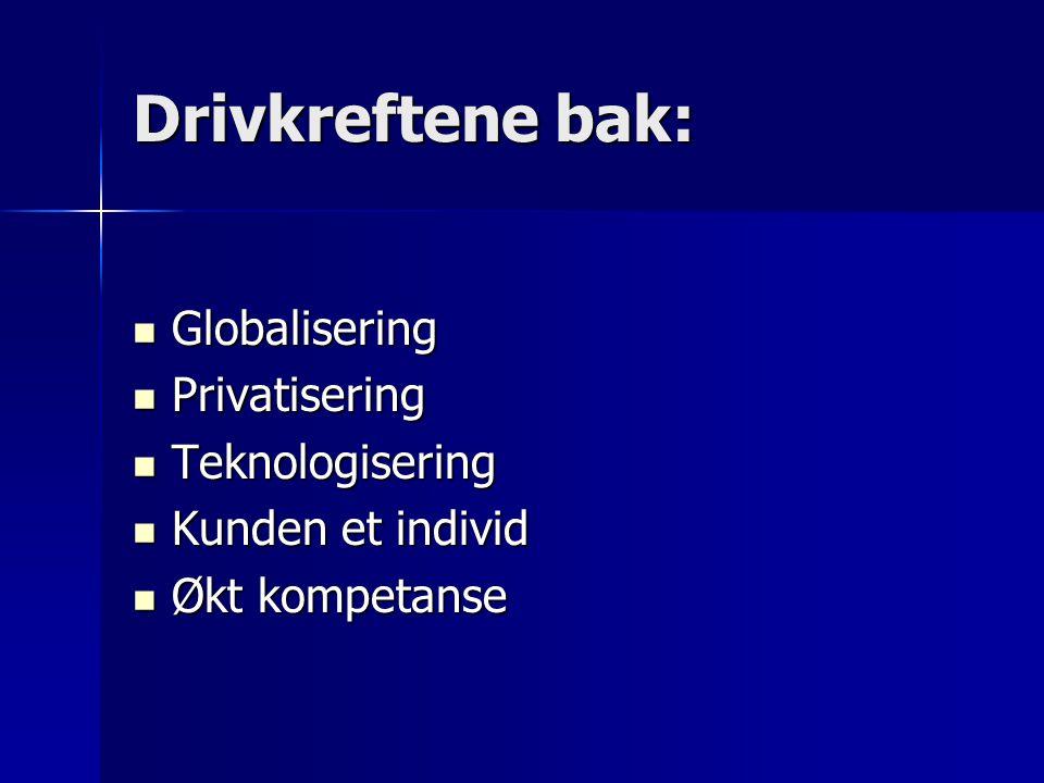 Drivkreftene bak: Globalisering Globalisering Privatisering Privatisering Teknologisering Teknologisering Kunden et individ Kunden et individ Økt komp