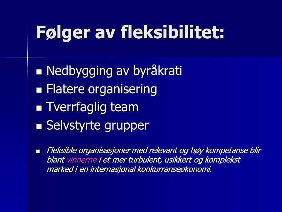 Følger av fleksibilitet: Nedbygging av byråkrati Nedbygging av byråkrati Flatere organisering Flatere organisering Tverrfaglig team Tverrfaglig team S