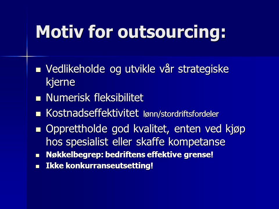 Motiv for outsourcing: Vedlikeholde og utvikle vår strategiske kjerne Vedlikeholde og utvikle vår strategiske kjerne Numerisk fleksibilitet Numerisk f