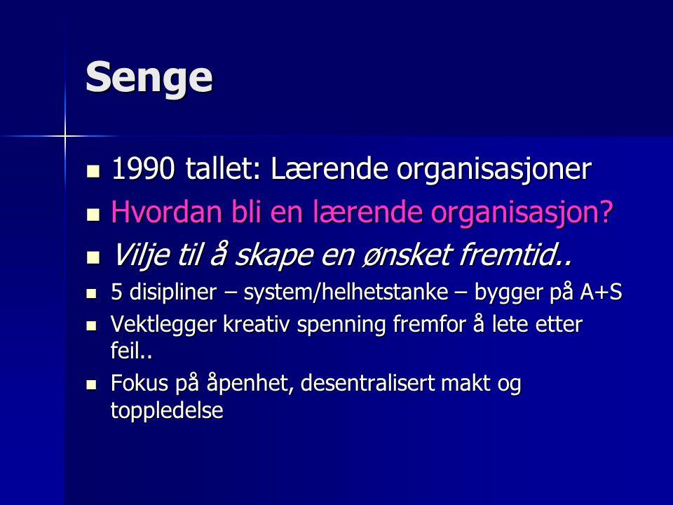 Senge 1990 tallet: Lærende organisasjoner 1990 tallet: Lærende organisasjoner Hvordan bli en lærende organisasjon? Hvordan bli en lærende organisasjon