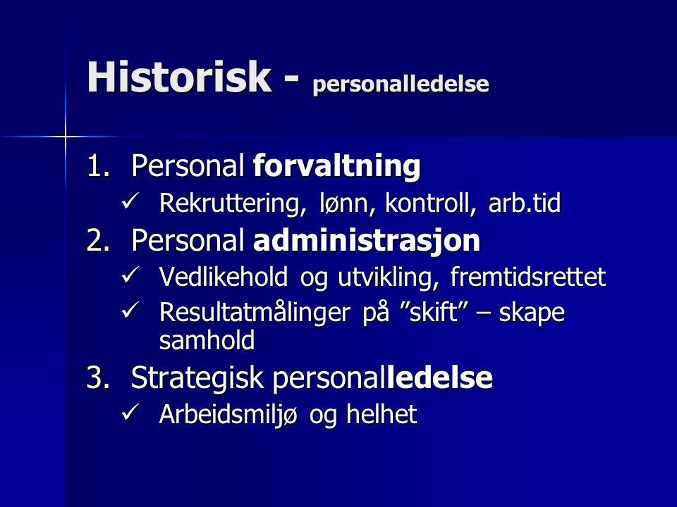 Historisk - personalledelse 1.Personal forvaltning Rekruttering, lønn, kontroll, arb.tid Rekruttering, lønn, kontroll, arb.tid 2.Personal administrasj