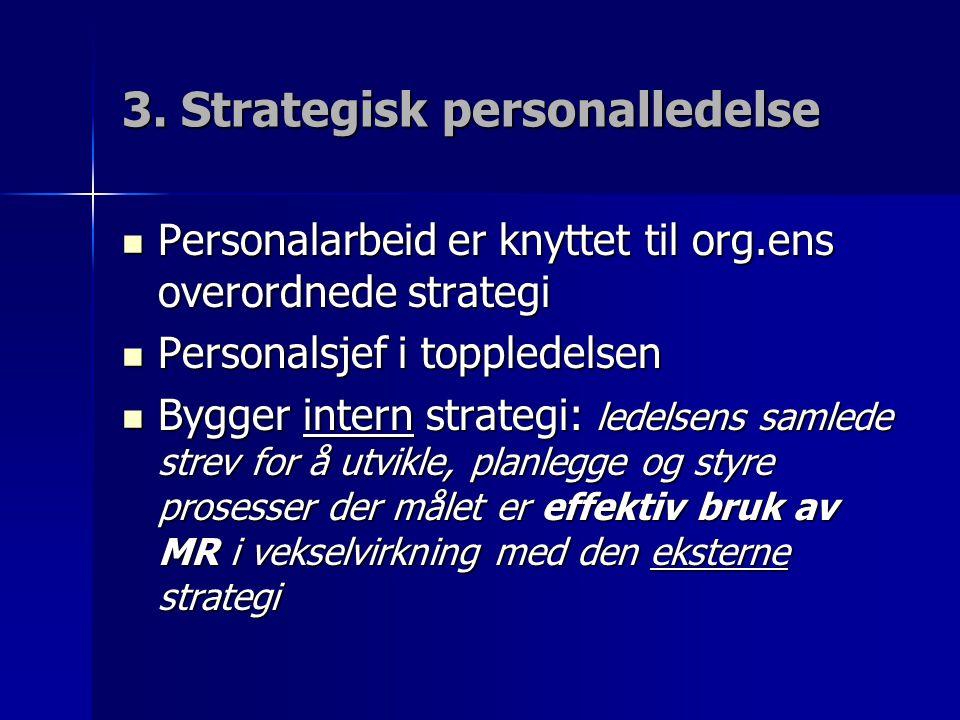 3. Strategisk personalledelse Personalarbeid er knyttet til org.ens overordnede strategi Personalarbeid er knyttet til org.ens overordnede strategi Pe