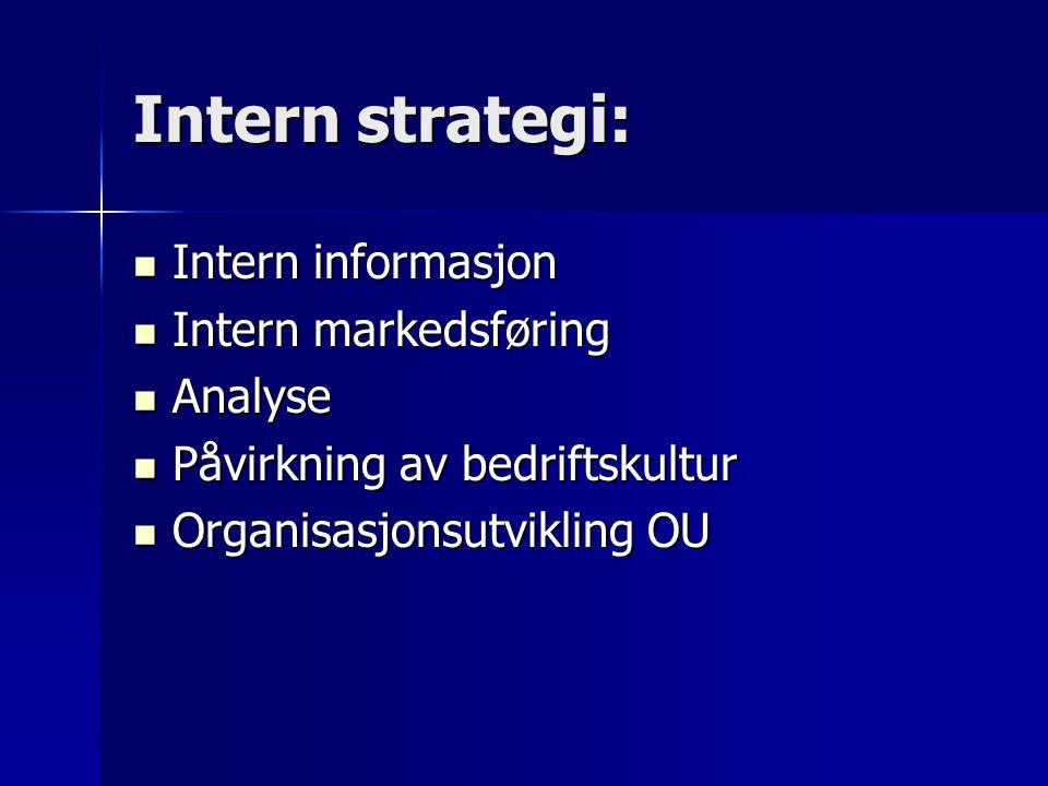 Intern strategi: Intern informasjon Intern informasjon Intern markedsføring Intern markedsføring Analyse Analyse Påvirkning av bedriftskultur Påvirkni