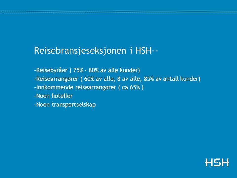 Reisebransjeseksjonen i HSH-- -Reisebyråer ( 75% - 80% av alle kunder) -Reisearrangører ( 60% av alle, 8 av alle, 85% av antall kunder) -Innkommende r