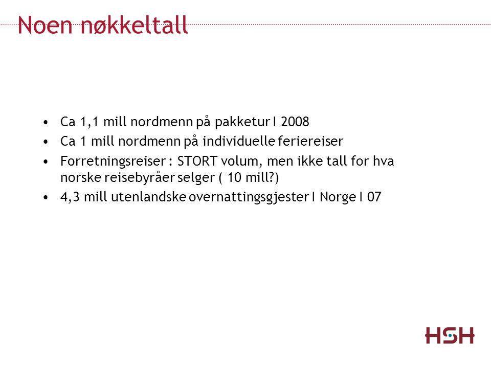 Noen nøkkeltall Ca 1,1 mill nordmenn på pakketur I 2008 Ca 1 mill nordmenn på individuelle feriereiser Forretningsreiser : STORT volum, men ikke tall