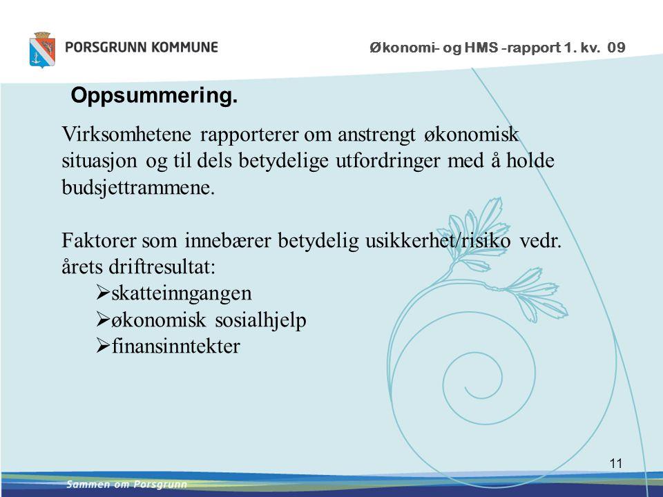 11 Økonomi- og HMS -rapport 1. kv. 09 Oppsummering.