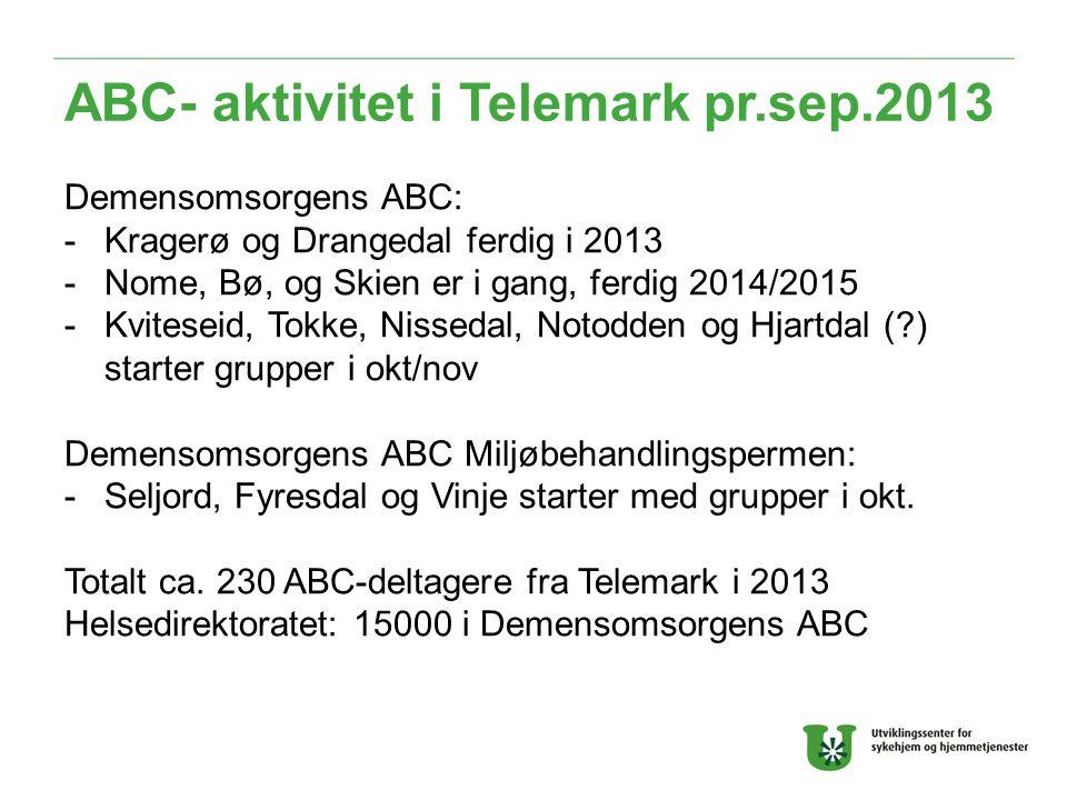 ABC- aktivitet i Telemark pr.sep.2013 Demensomsorgens ABC: -Kragerø og Drangedal ferdig i 2013 -Nome, Bø, og Skien er i gang, ferdig 2014/2015 -Kviteseid, Tokke, Nissedal, Notodden og Hjartdal ( ) starter grupper i okt/nov Demensomsorgens ABC Miljøbehandlingspermen: -Seljord, Fyresdal og Vinje starter med grupper i okt.