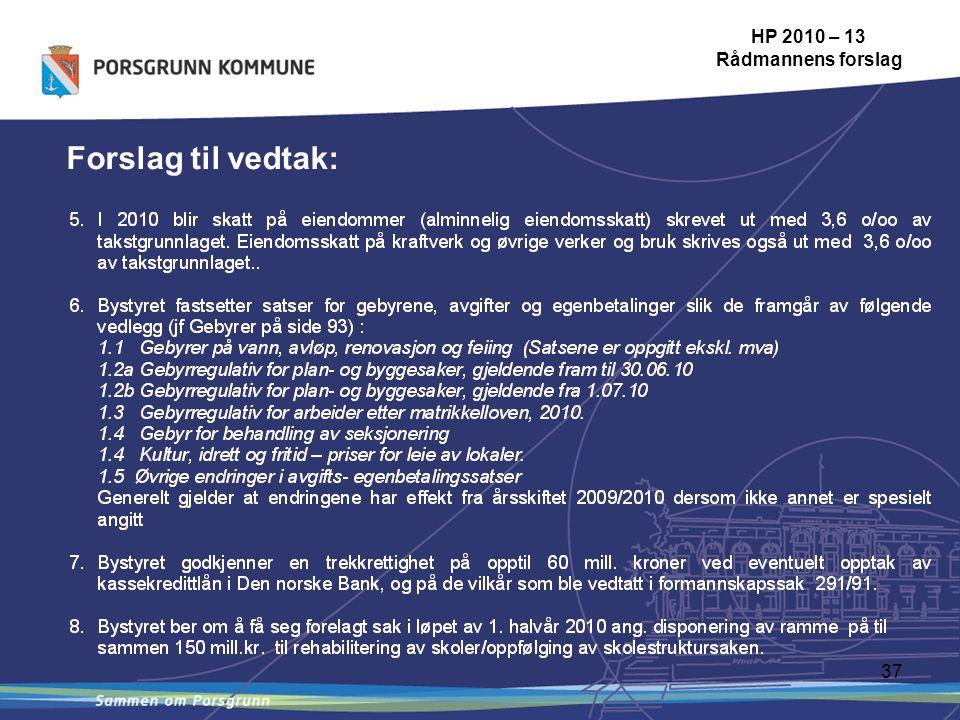 37 HP 2010 – 13 Rådmannens forslag Forslag til vedtak: