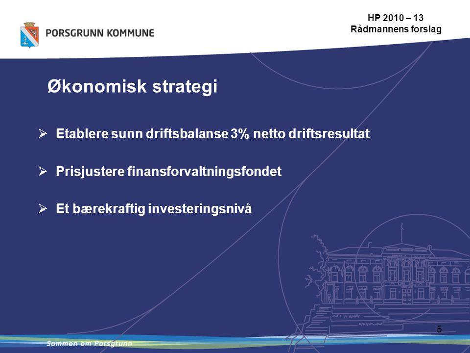 5 HP 2010 – 13 Rådmannens forslag Økonomisk strategi  Etablere sunn driftsbalanse 3% netto driftsresultat  Prisjustere finansforvaltningsfondet  Et bærekraftig investeringsnivå