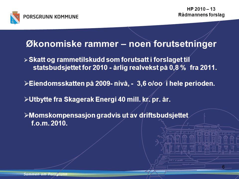 6 Økonomiske rammer – noen forutsetninger HP 2010 – 13 Rådmannens forslag  Skatt og rammetilskudd som forutsatt i forslaget til statsbudsjettet for 2010 - årlig realvekst på 0,8 % fra 2011.