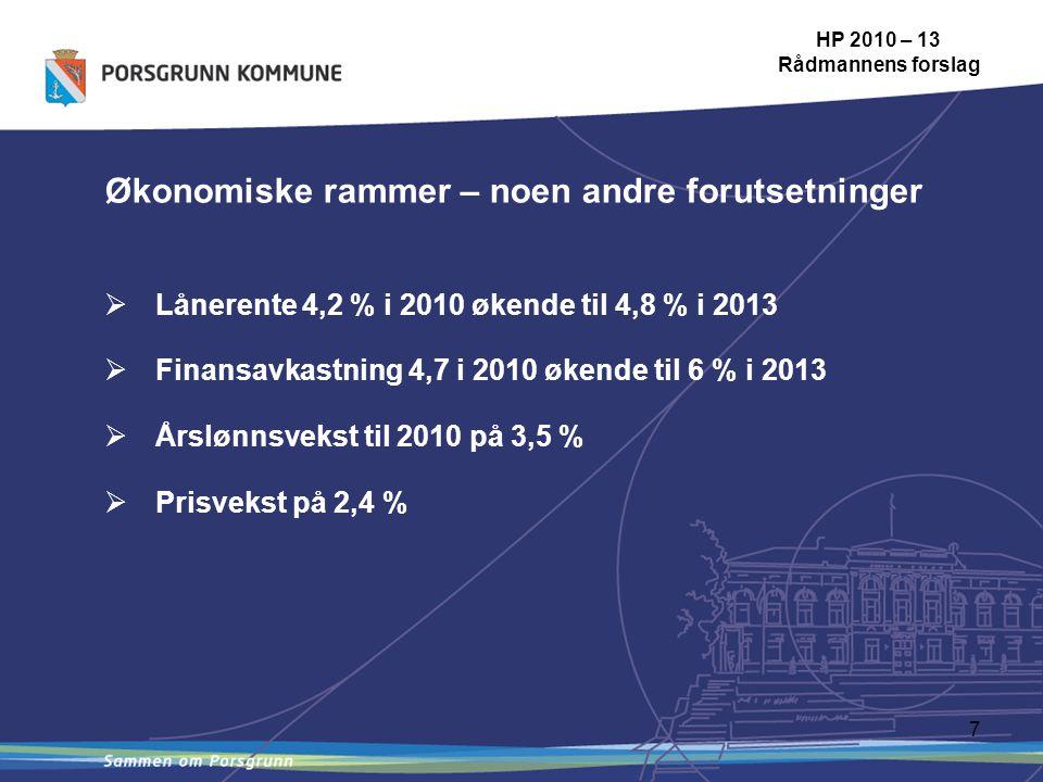 7 HP 2010 – 13 Rådmannens forslag Økonomiske rammer – noen andre forutsetninger  Lånerente 4,2 % i 2010 økende til 4,8 % i 2013  Finansavkastning 4,7 i 2010 økende til 6 % i 2013  Årslønnsvekst til 2010 på 3,5 %  Prisvekst på 2,4 %