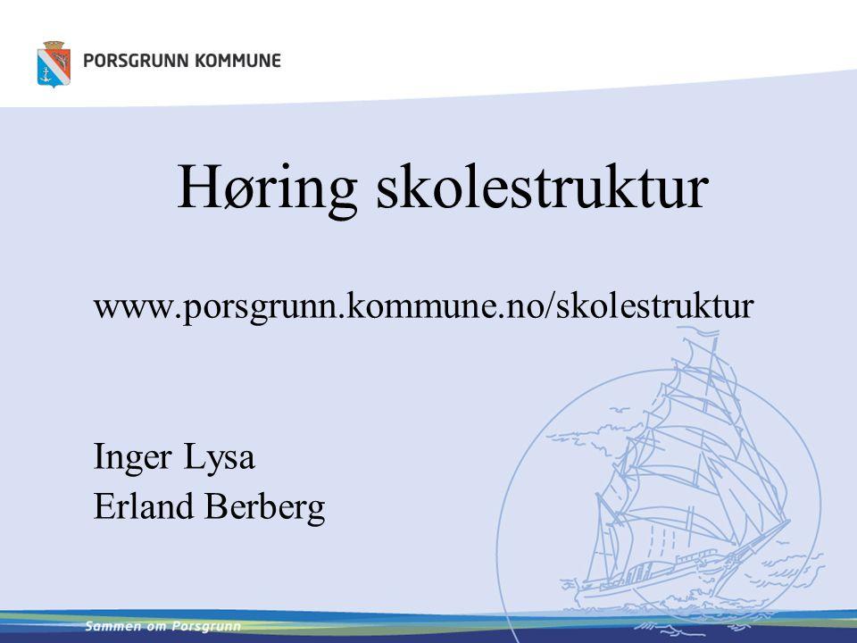 Høring skolestruktur www.porsgrunn.kommune.no/skolestruktur Inger Lysa Erland Berberg
