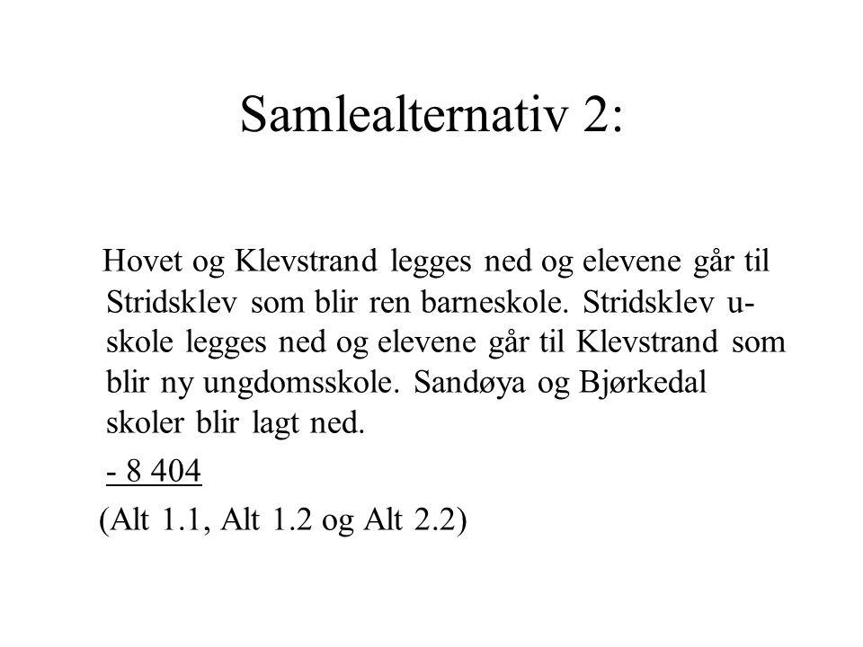Samlealternativ 2: Hovet og Klevstrand legges ned og elevene går til Stridsklev som blir ren barneskole. Stridsklev u- skole legges ned og elevene går
