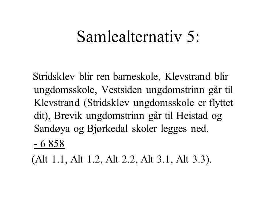 Samlealternativ 5: Stridsklev blir ren barneskole, Klevstrand blir ungdomsskole, Vestsiden ungdomstrinn går til Klevstrand (Stridsklev ungdomsskole er
