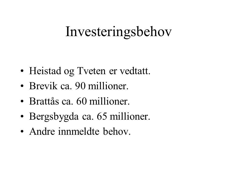 Investeringsbehov Heistad og Tveten er vedtatt. Brevik ca. 90 millioner. Brattås ca. 60 millioner. Bergsbygda ca. 65 millioner. Andre innmeldte behov.