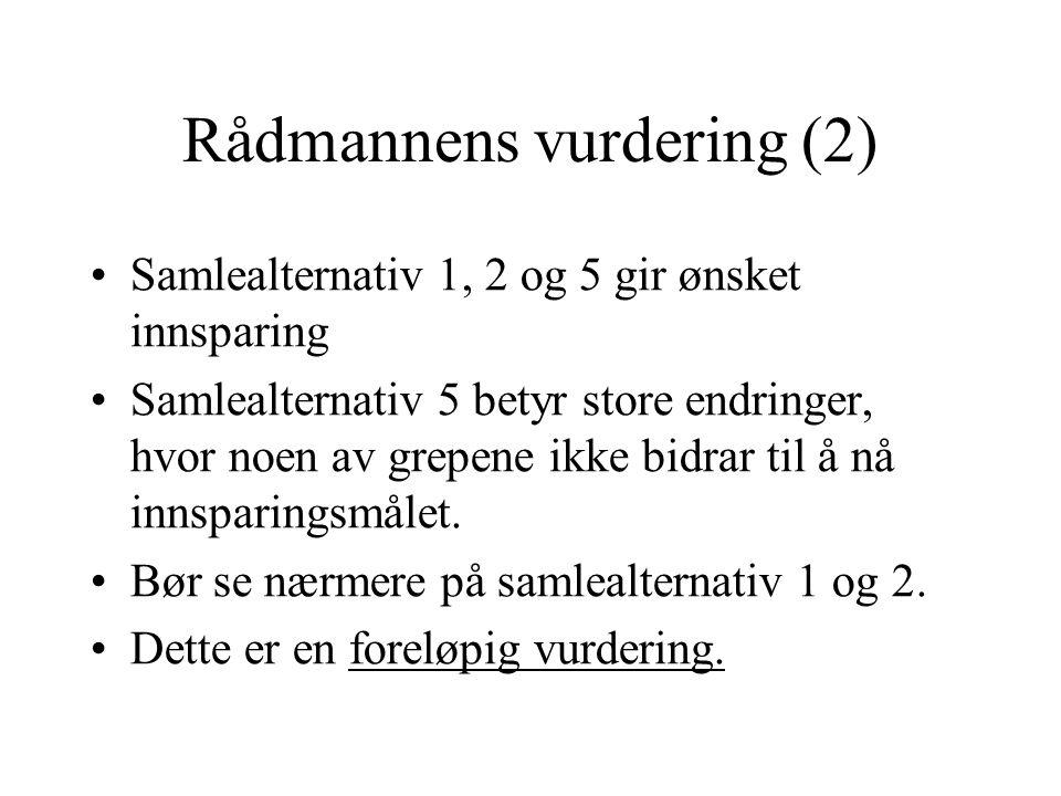 Rådmannens vurdering (2) Samlealternativ 1, 2 og 5 gir ønsket innsparing Samlealternativ 5 betyr store endringer, hvor noen av grepene ikke bidrar til