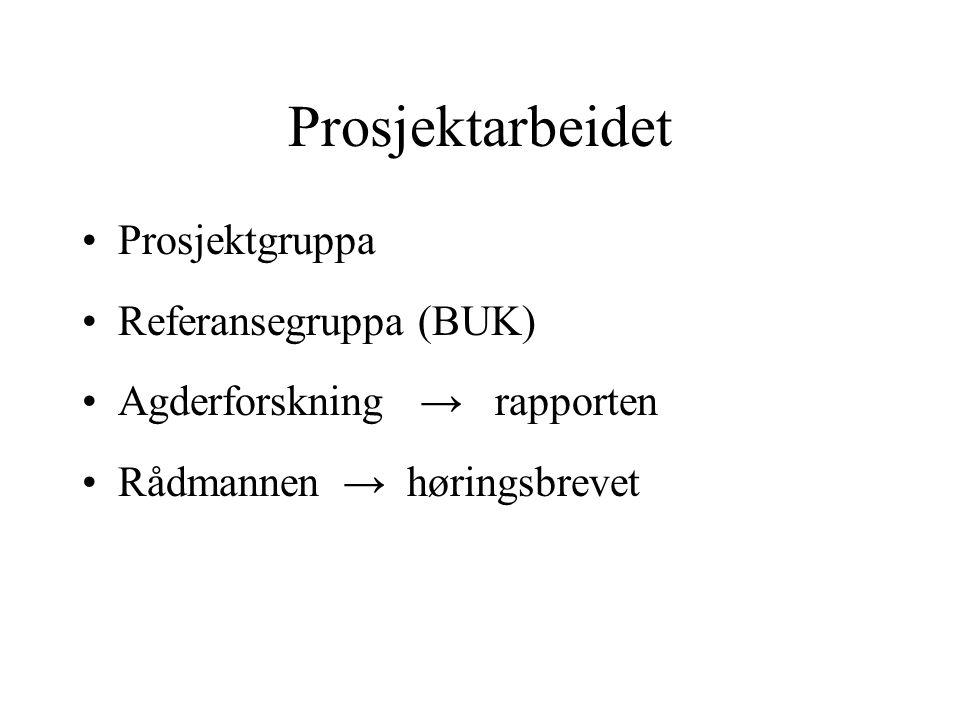 Prosjektarbeidet Prosjektgruppa Referansegruppa (BUK) Agderforskning → rapporten Rådmannen → høringsbrevet