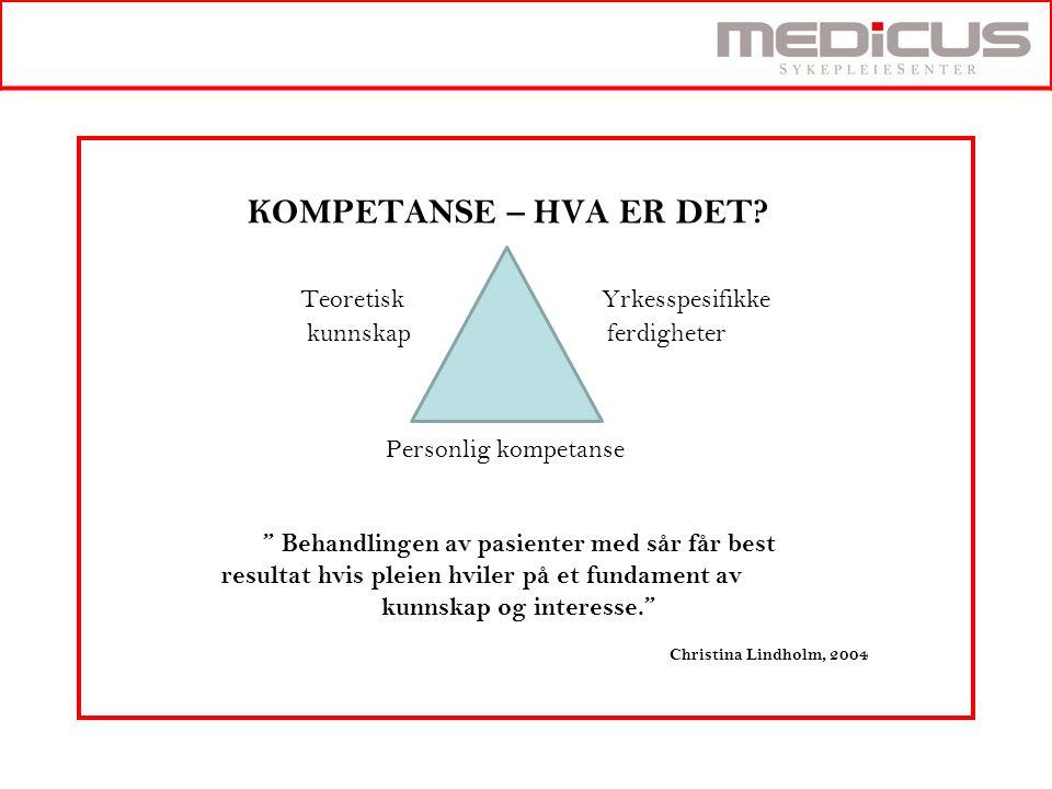 """KOMPETANSE – HVA ER DET? Teoretisk Yrkesspesifikke kunnskap ferdigheter Personlig kompetanse """" Behandlingen av pasienter med sår får best resultat hvi"""