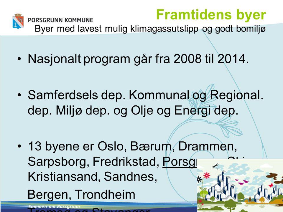 Framtidens byer Byer med lavest mulig klimagassutslipp og godt bomiljø Nasjonalt program går fra 2008 til 2014. Samferdsels dep. Kommunal og Regional.