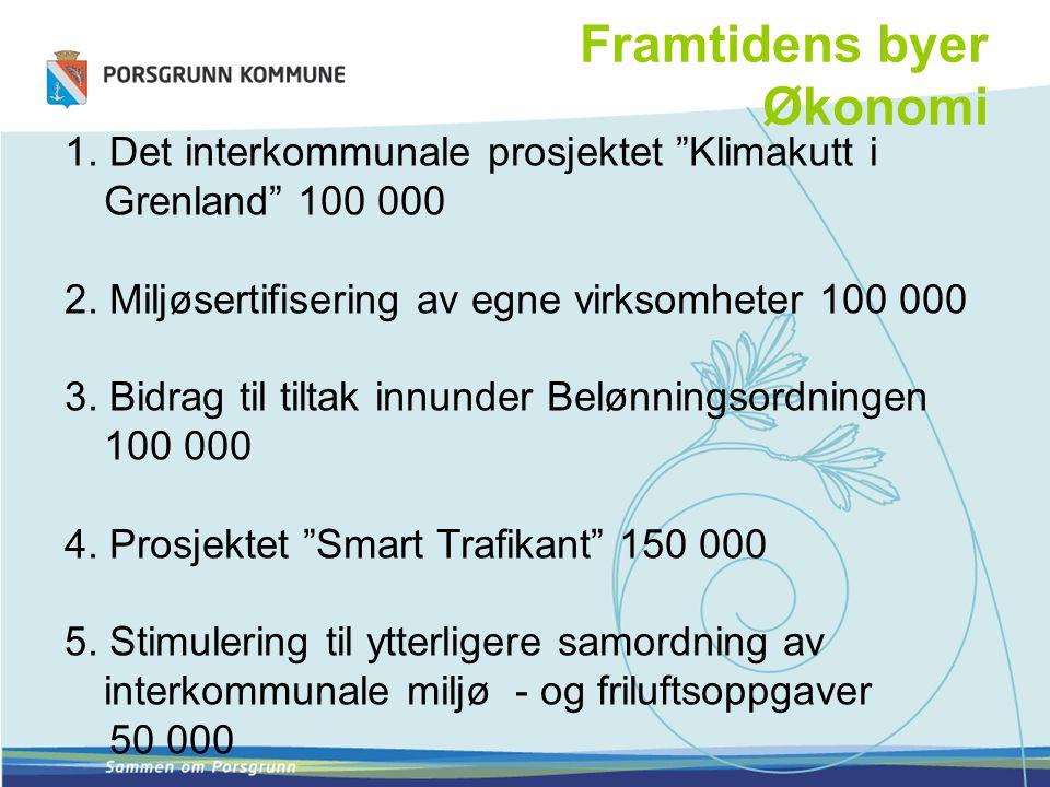 """Framtidens byer Økonomi 1. Det interkommunale prosjektet """"Klimakutt i Grenland"""" 100 000 2. Miljøsertifisering av egne virksomheter 100 000 3. Bidrag t"""