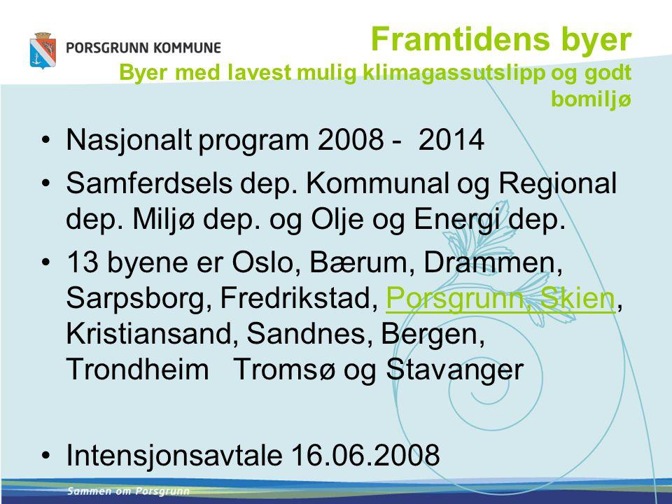 Framtidens byer Byer med lavest mulig klimagassutslipp og godt bomiljø Nasjonalt program 2008 - 2014 Samferdsels dep.