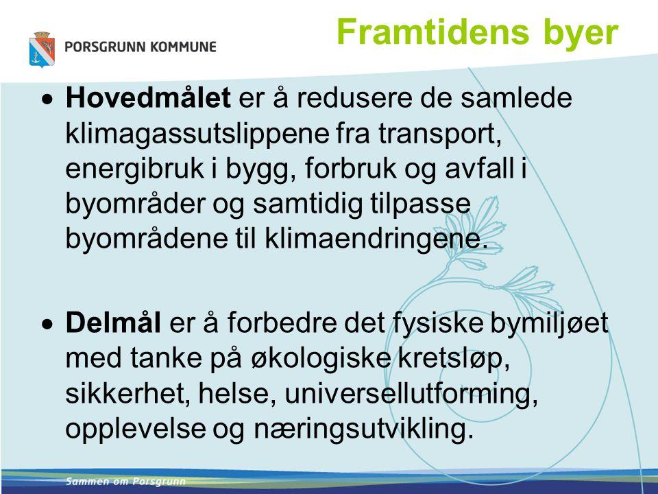 Framtidens byer Fire satsningsområder: 1.Arealbruk og transport Kontaktpersoner: Tore Kildal, Olav Backe- Hansen 2.