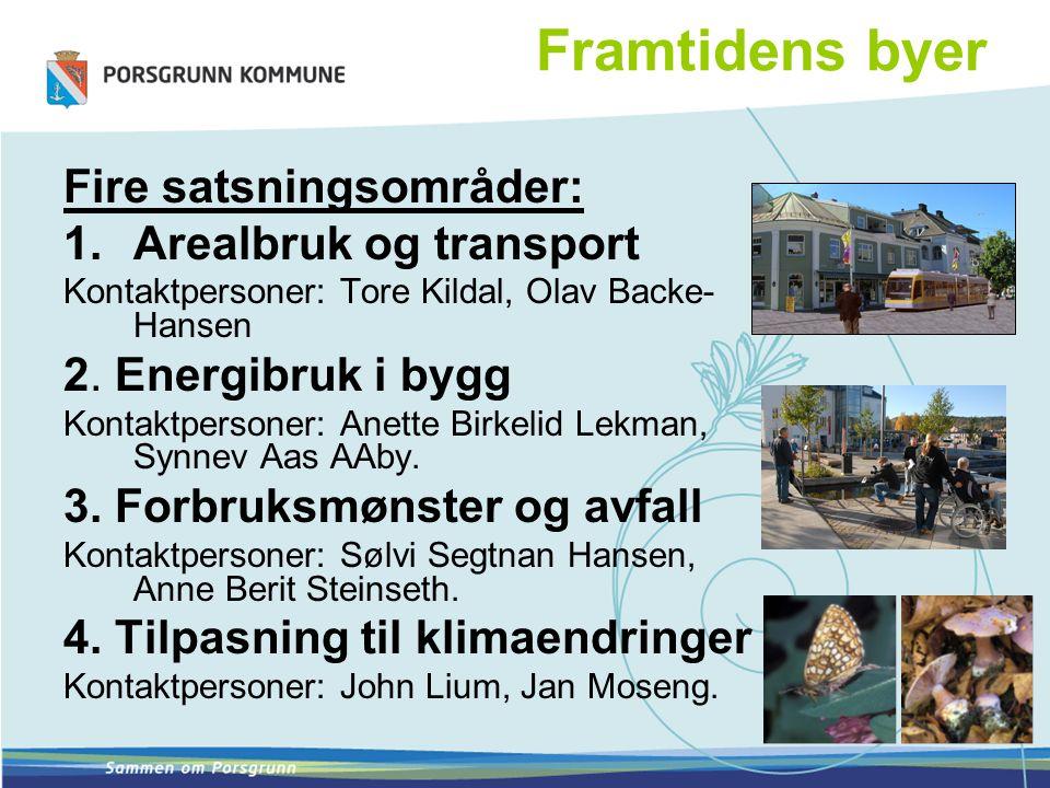 Framtidens byer Fire satsningsområder: 1.Arealbruk og transport Kontaktpersoner: Tore Kildal, Olav Backe- Hansen 2. Energibruk i bygg Kontaktpersoner: