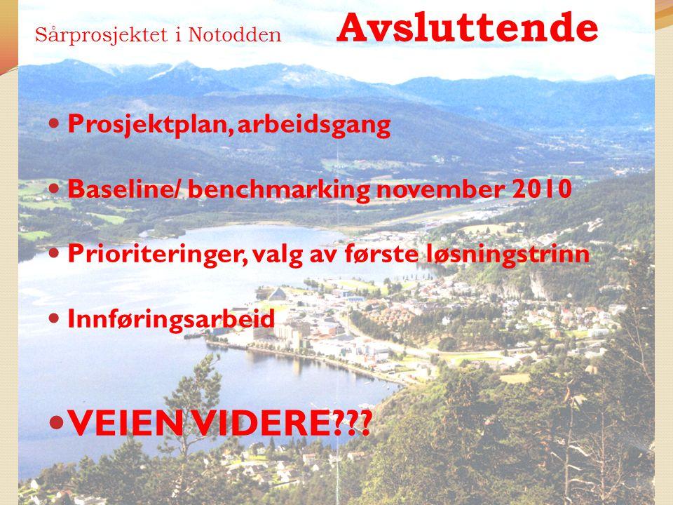 Sårprosjektet i Notodden Avsluttende Prosjektplan, arbeidsgang Baseline/ benchmarking november 2010 Prioriteringer, valg av første løsningstrinn Innfø