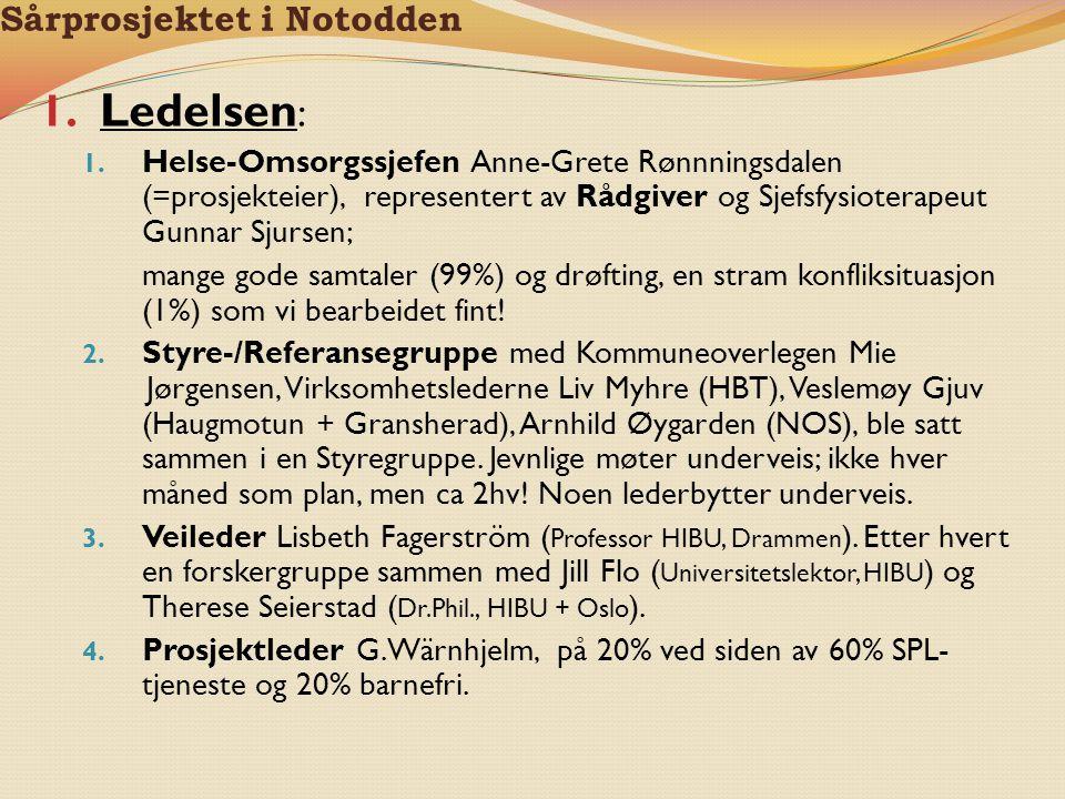 Sårprosjektet i Notodden 1. Ledelsen : 1. Helse-Omsorgssjefen Anne-Grete Rønnningsdalen (=prosjekteier), representert av Rådgiver og Sjefsfysioterapeu