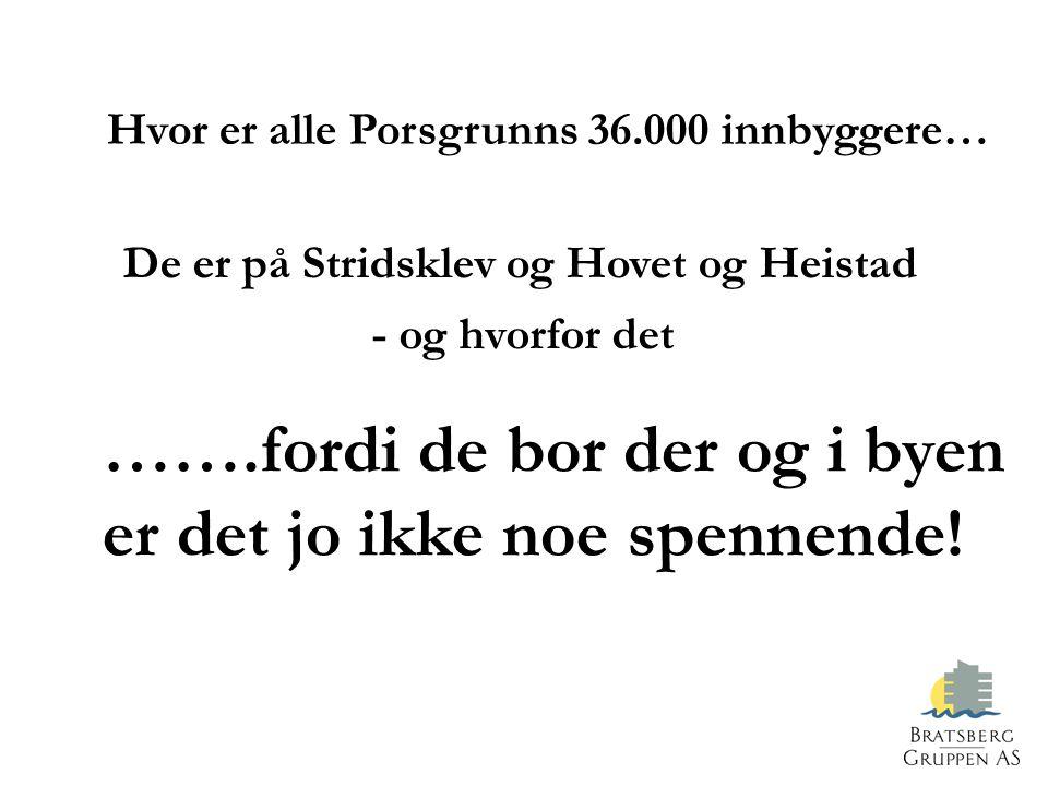 Hvor er alle Porsgrunns 36.000 innbyggere… De er på Stridsklev og Hovet og Heistad - og hvorfor det …….fordi de bor der og i byen er det jo ikke noe spennende!