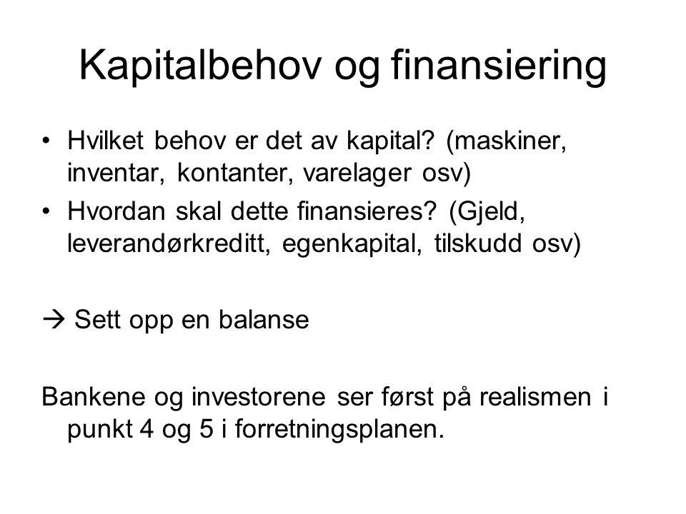 Kapitalbehov og finansiering Hvilket behov er det av kapital? (maskiner, inventar, kontanter, varelager osv) Hvordan skal dette finansieres? (Gjeld, l