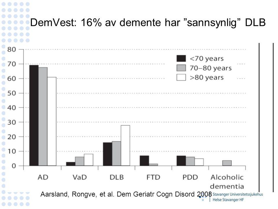 """DemVest: 16% av demente har """"sannsynlig"""" DLB N=150 39% male Age 75.8 Aarsland, Rongve, et al. Dem Geriatr Cogn Disord 2008"""