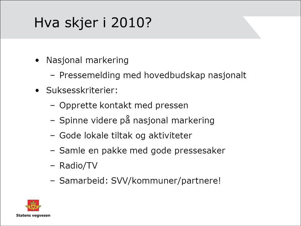 Hva skjer i 2010? Nasjonal markering –Pressemelding med hovedbudskap nasjonalt Suksesskriterier: –Opprette kontakt med pressen –Spinne videre på nasjo