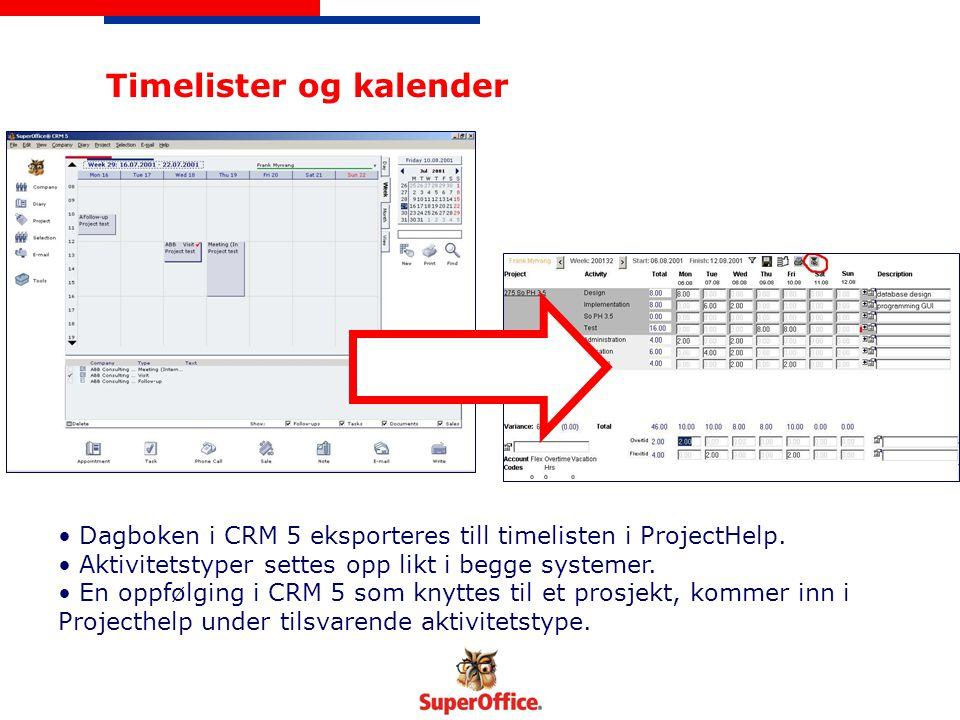 Timelister og kalender Dagboken i CRM 5 eksporteres till timelisten i ProjectHelp. Aktivitetstyper settes opp likt i begge systemer. En oppfølging i C
