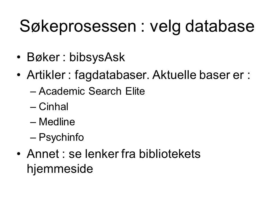 Søkeprosessen : velg database Bøker : bibsysAsk Artikler : fagdatabaser. Aktuelle baser er : –Academic Search Elite –Cinhal –Medline –Psychinfo Annet