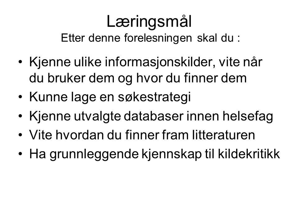 Søketeknikker Ordstammesøk (trunkering) : brukes for å få treff på alle varianter av ordet.