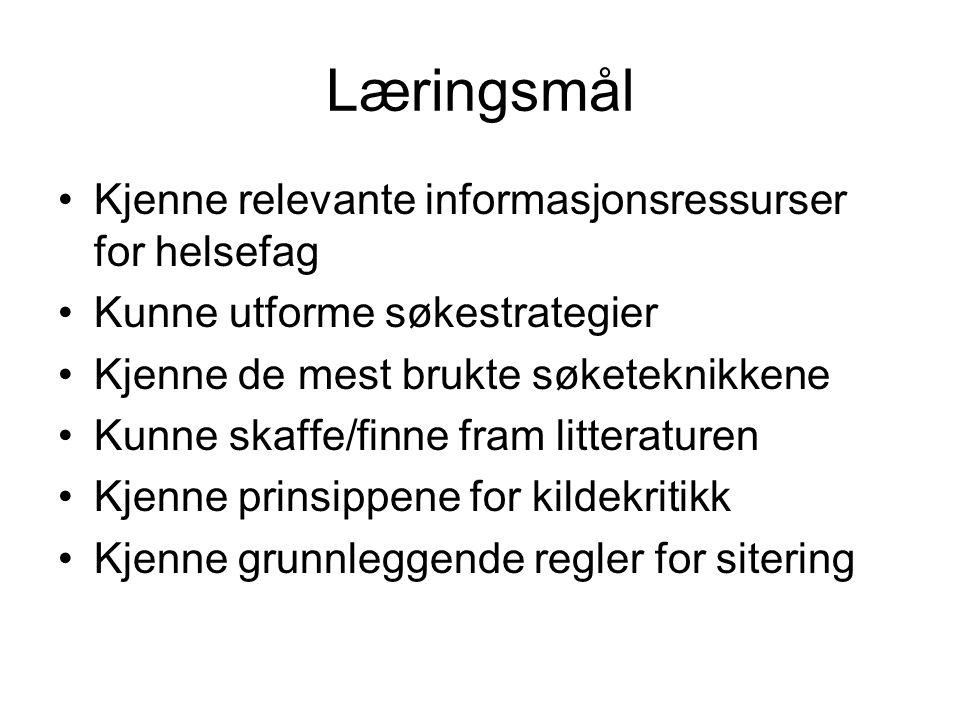 Søketeknikker Søkehistorikk (search history) gir oversikt over søkene du har gjort.