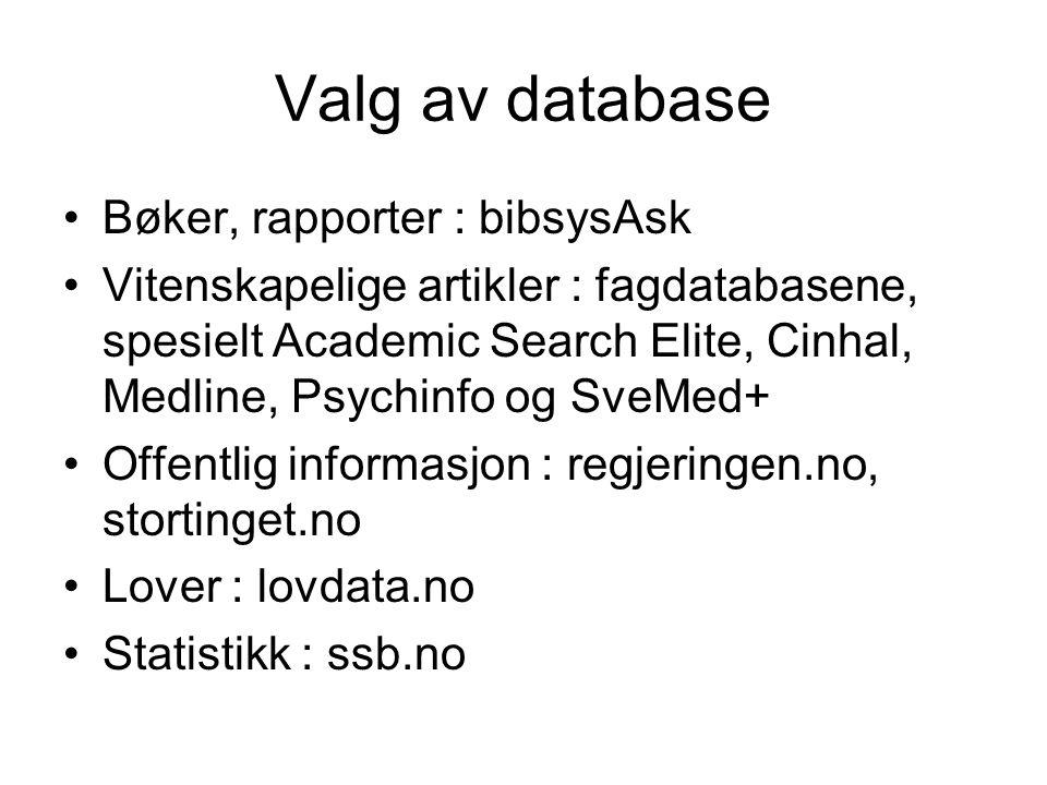 Valg av database Bøker, rapporter : bibsysAsk Vitenskapelige artikler : fagdatabasene, spesielt Academic Search Elite, Cinhal, Medline, Psychinfo og SveMed+ Offentlig informasjon : regjeringen.no, stortinget.no Lover : lovdata.no Statistikk : ssb.no