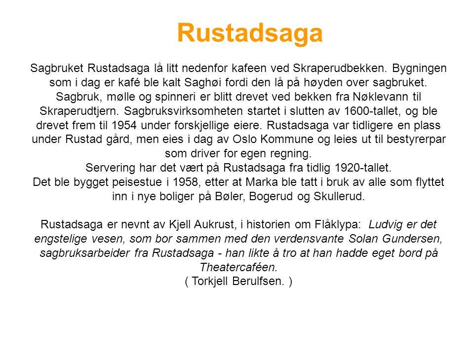 Rustadsaga Sagbruket Rustadsaga lå litt nedenfor kafeen ved Skraperudbekken.