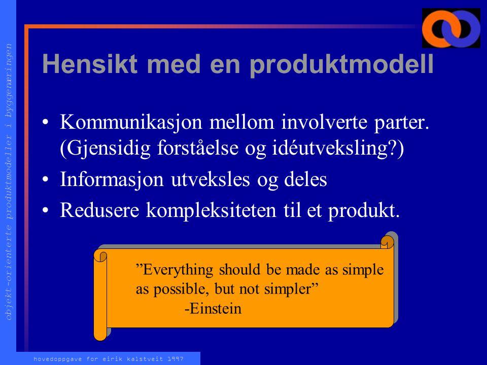 objekt-orienterte produktmodeller i byggenæringen hovedoppgave for eirik kalstveit 1997 Hvorfor produktmodell? Effektiv bruk av IT forutsetter omorgan