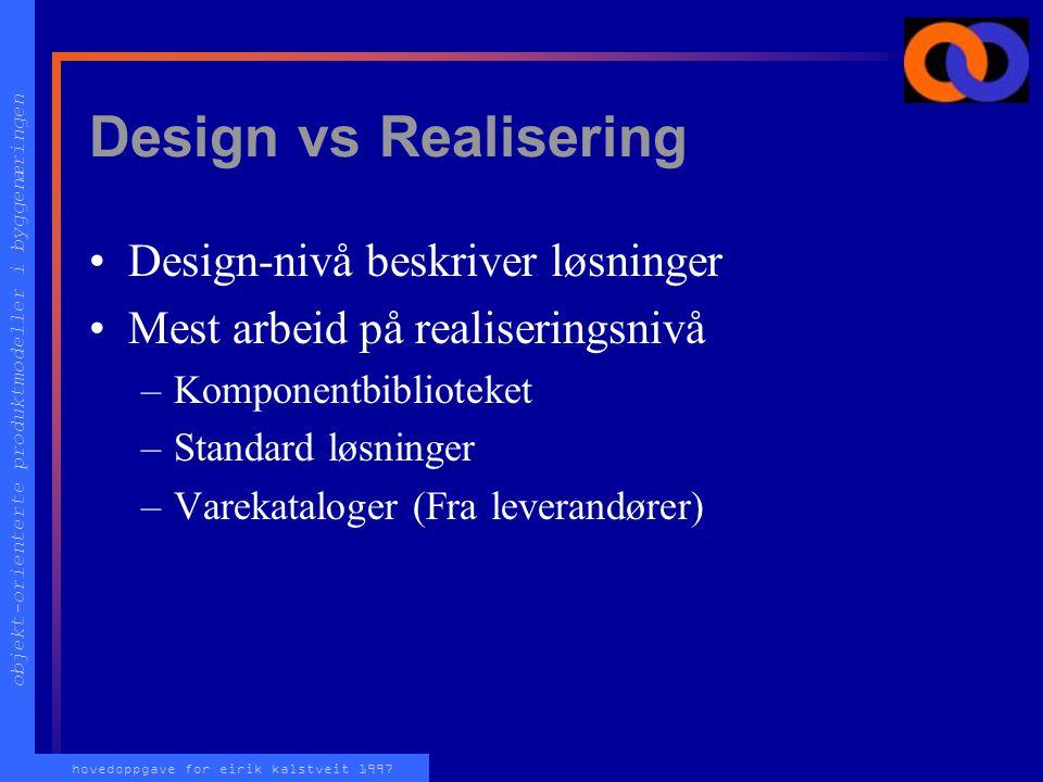 objekt-orienterte produktmodeller i byggenæringen hovedoppgave for eirik kalstveit 1997 Hovedfaser i modellen DESIGN (Beskrivelse) REALISERING (Slik d