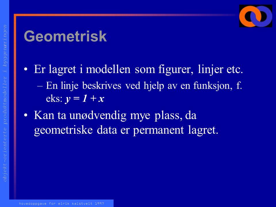 objekt-orienterte produktmodeller i byggenæringen hovedoppgave for eirik kalstveit 1997 Referansegeometri To måter å representere oppbygning på: –Geom