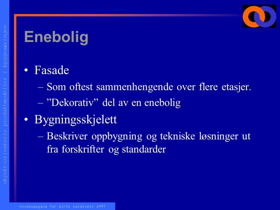 objekt-orienterte produktmodeller i byggenæringen hovedoppgave for eirik kalstveit 1997 Enebolig FASADE BYGNINGS SKJELETT ETASJE DØRTAK VEGG FUNDAMENT