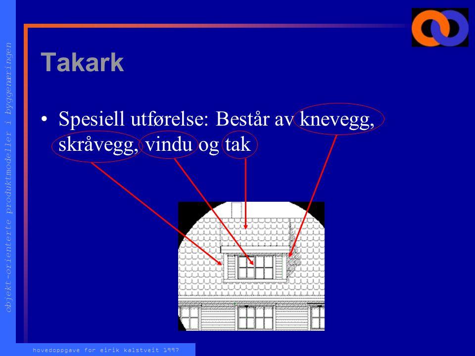 objekt-orienterte produktmodeller i byggenæringen hovedoppgave for eirik kalstveit 1997 Tak Takdekke velges spesielt (Panne, skifer, shingel etc) (...
