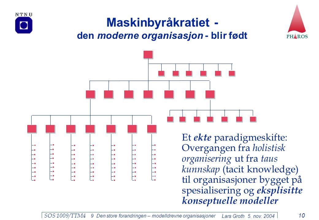 PH ROS Lars Groth 5. nov. 2004 SOS 1009/TTM4 9 Den store forandringen – modelldrevne organisasjoner 10 Maskinbyråkratiet - den moderne organisasjon -