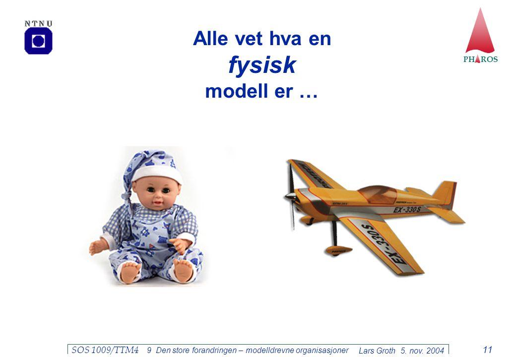 PH ROS Lars Groth 5. nov. 2004 SOS 1009/TTM4 9 Den store forandringen – modelldrevne organisasjoner 11 Alle vet hva en fysisk modell er …