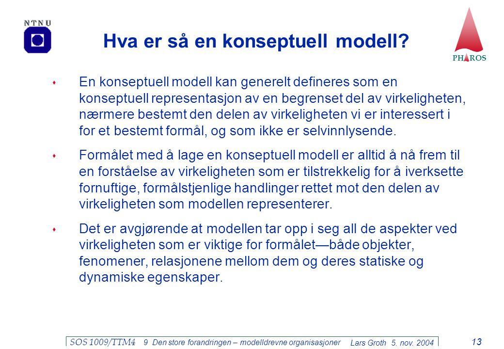 PH ROS Lars Groth 5. nov. 2004 SOS 1009/TTM4 9 Den store forandringen – modelldrevne organisasjoner 13 Hva er så en konseptuell modell?  En konseptue
